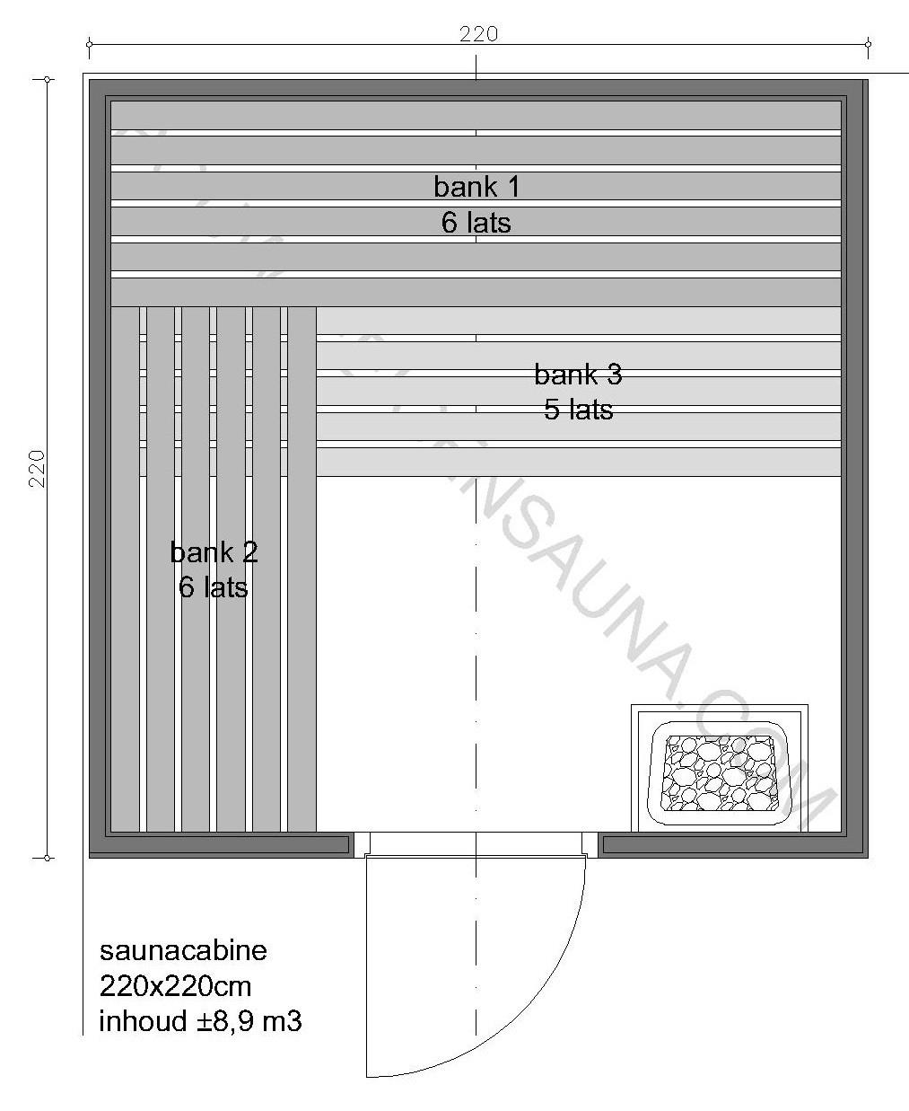 Sauna Zelfbouw-pakket 220x220x210 - in diverse uitvoeringen