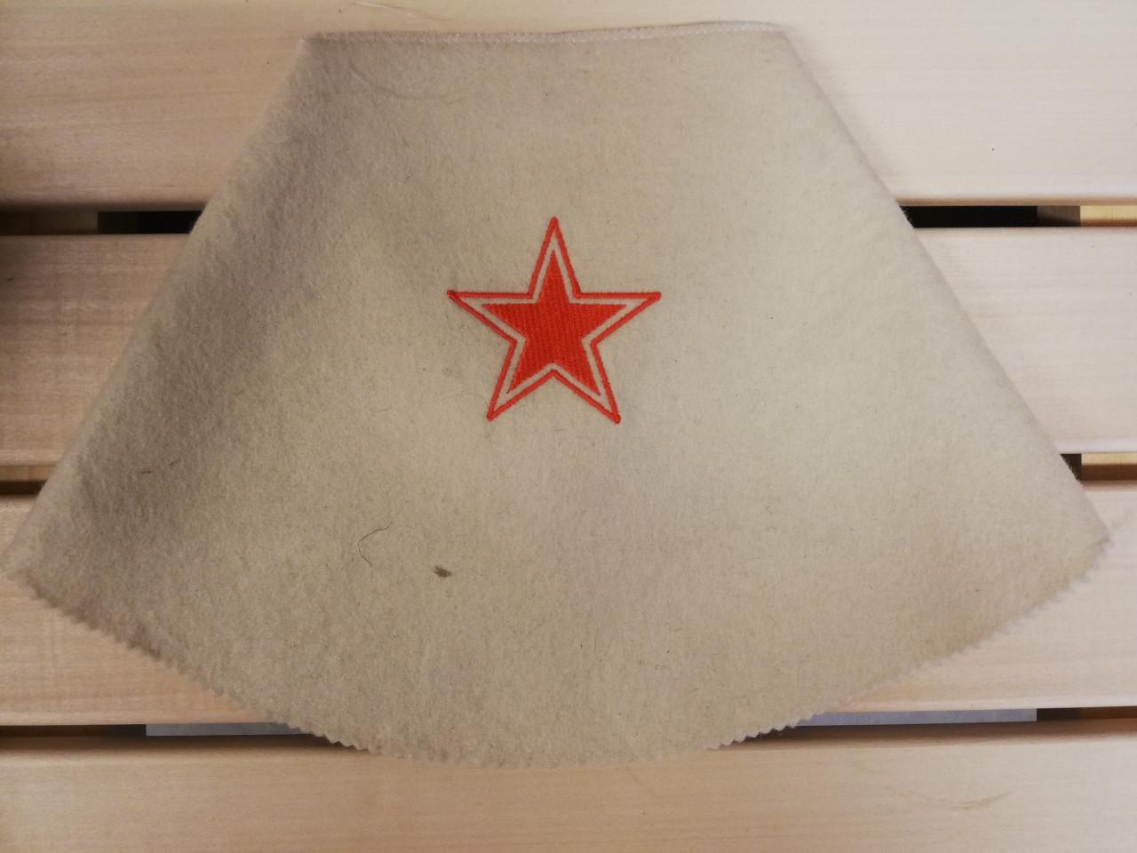 Saunamuts RED STAR - wit