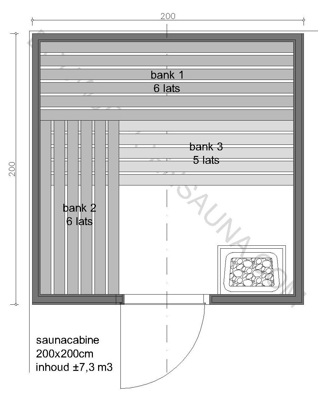 Sauna Prefab-pakket 200x200x210 - in diverse uitvoeringen