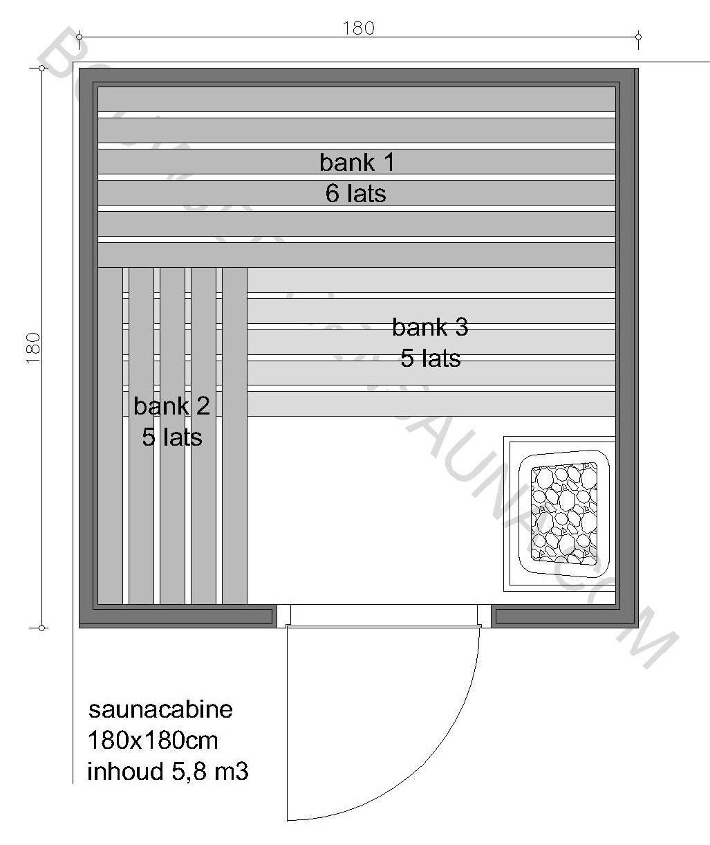 Sauna Zelfbouw-pakket 180x180x210 - in diverse uitvoeringen
