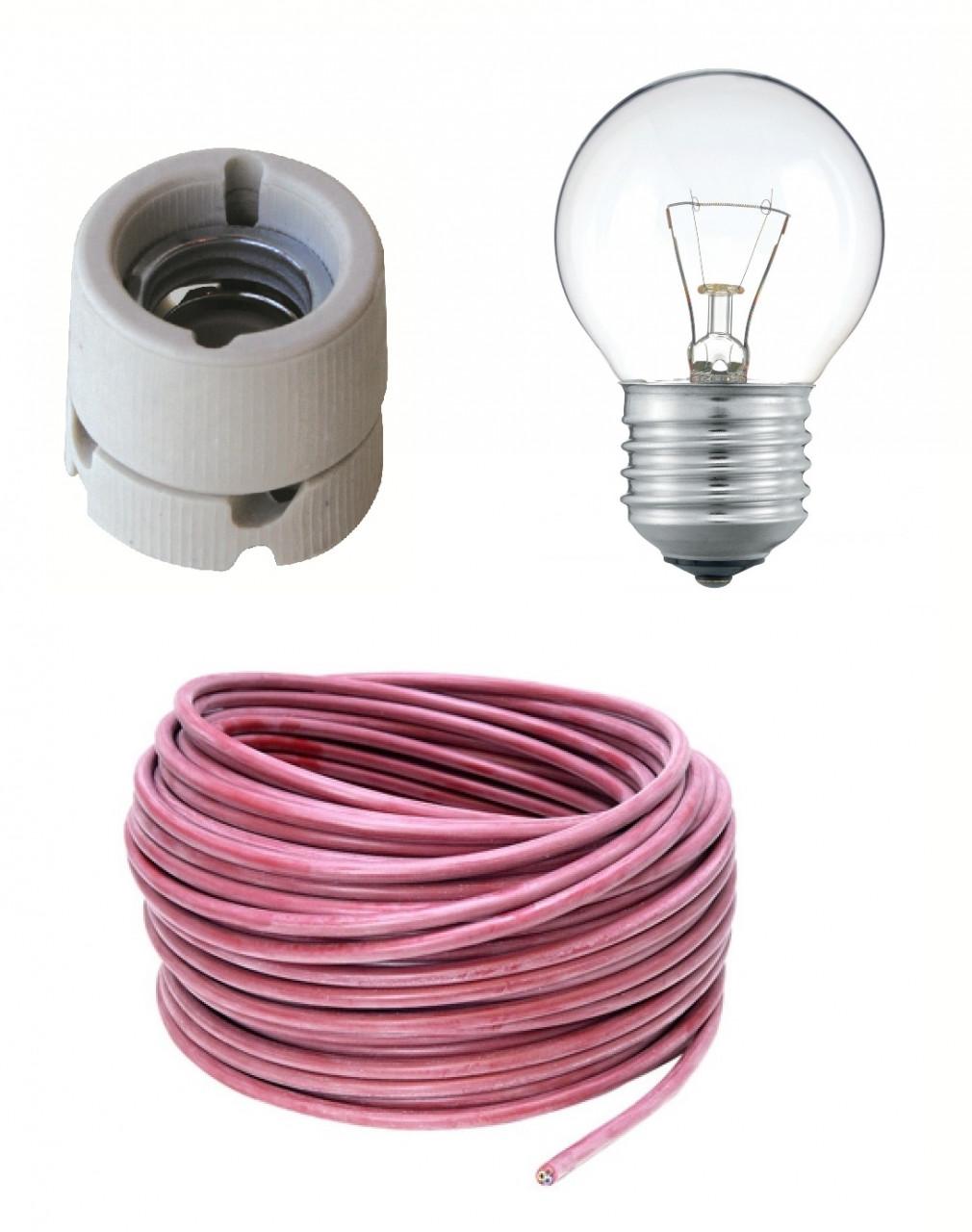 Aansluitset met fitting E27, lamp & 3,5m kabel