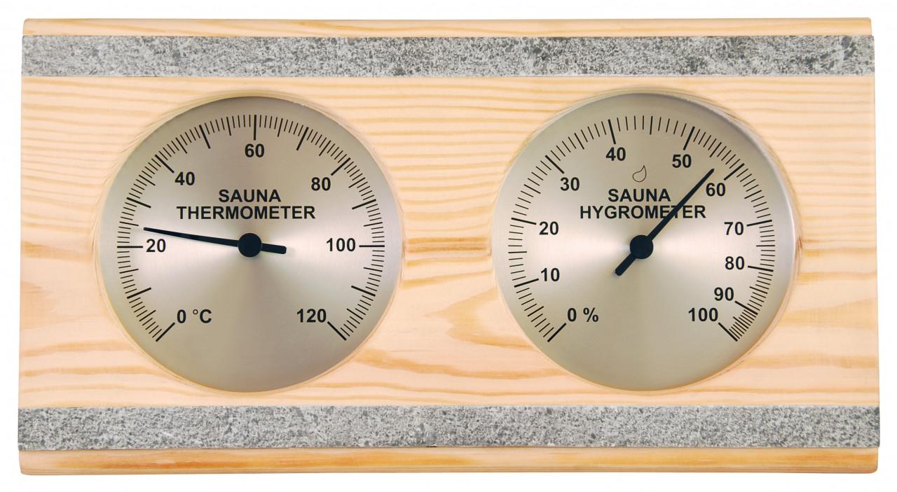 Thermo-hygrometer speksteen dubbel