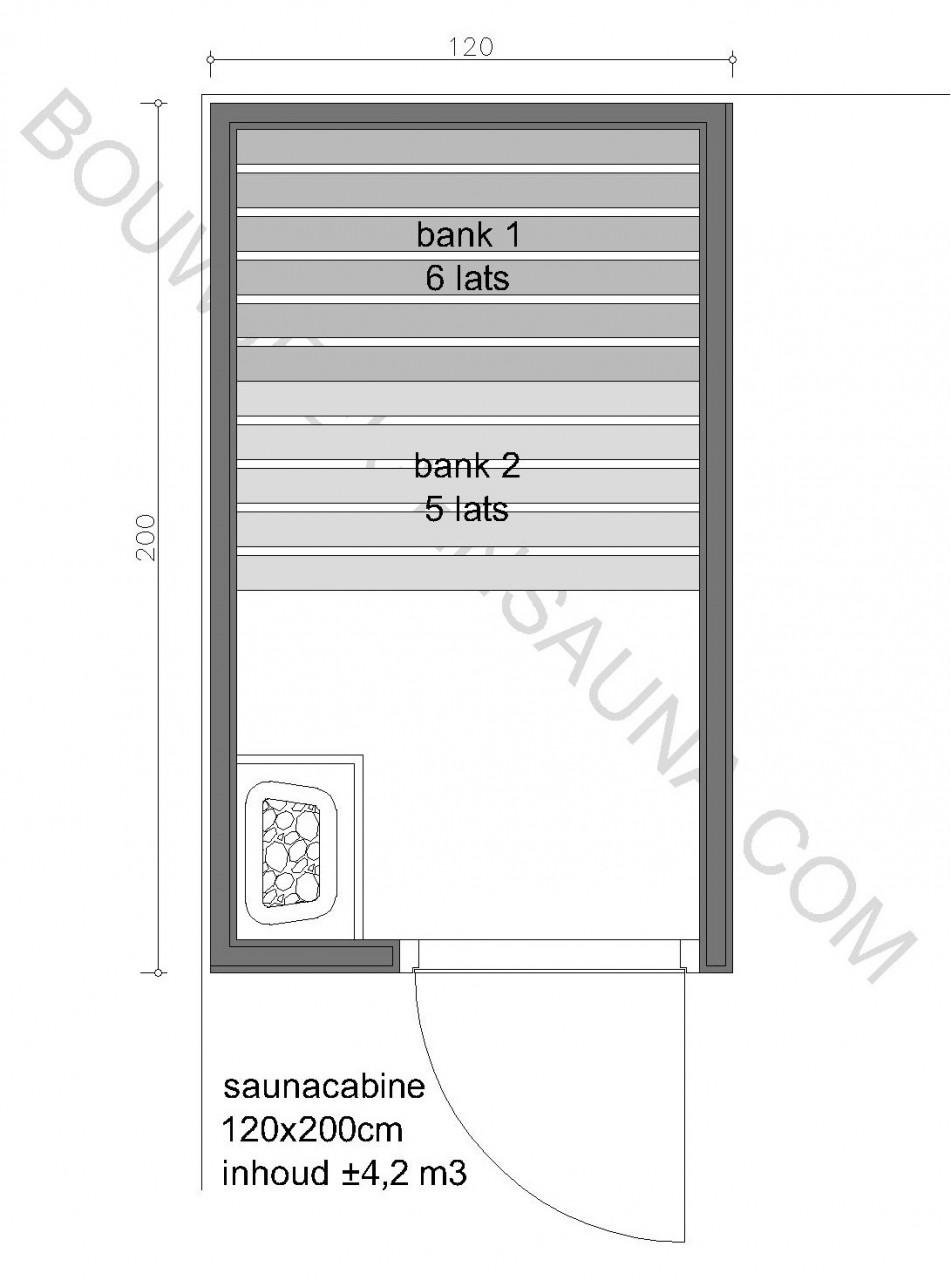 Sauna Zelfbouw-pakket 120x200x210 - in diverse uitvoeringen