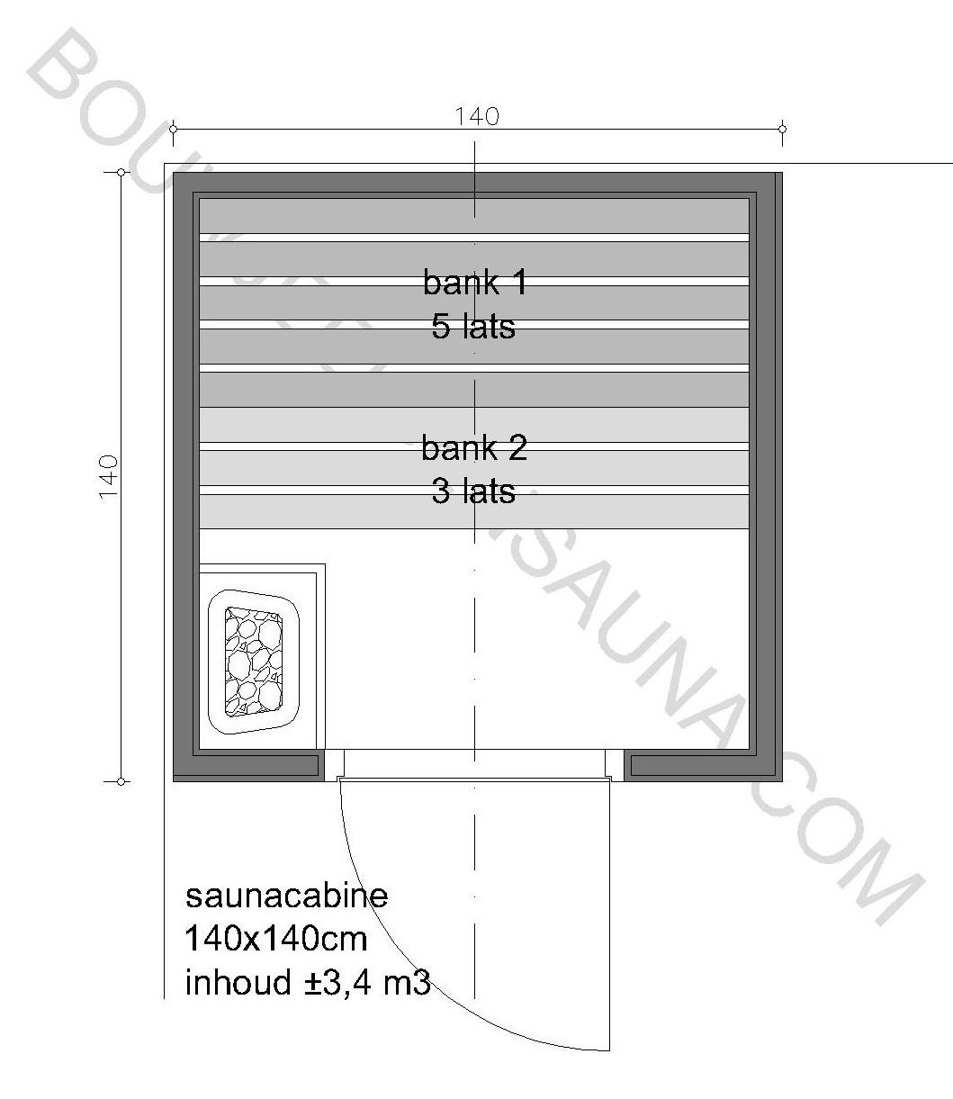 Sauna Zelfbouw-pakket 140x140x210 - in diverse uitvoeringen