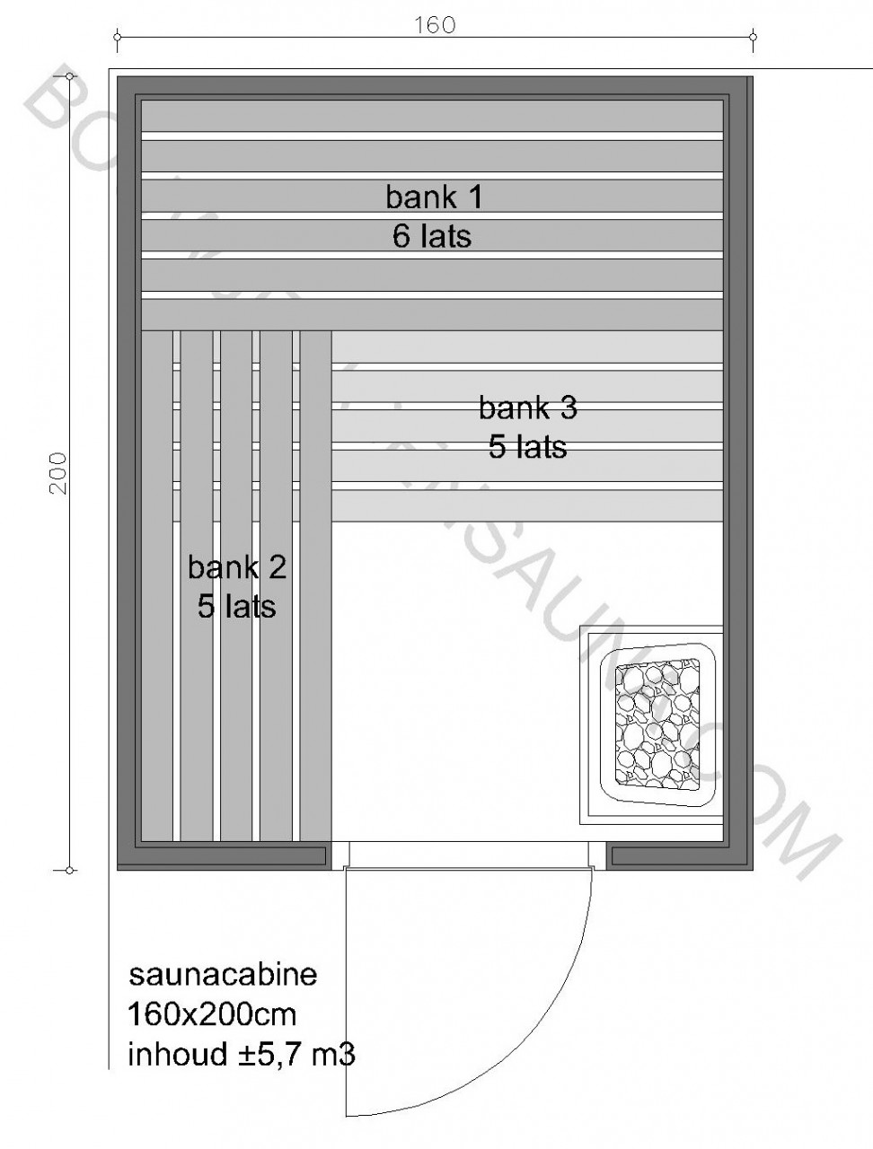 Sauna Zelfbouw-pakket 160x200x210 - in diverse uitvoeringen