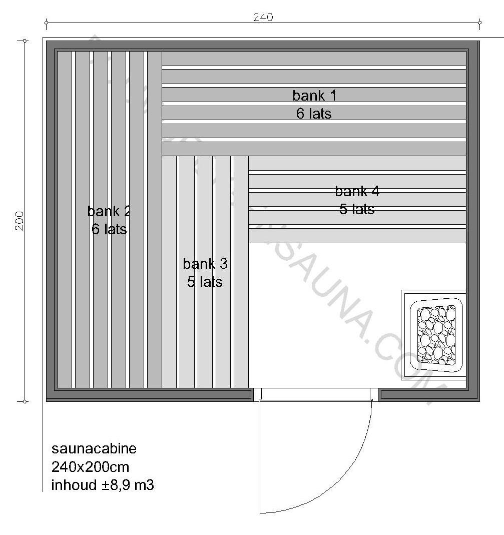 Sauna Zelfbouw-pakket 240x200x210 - in diverse uitvoeringen