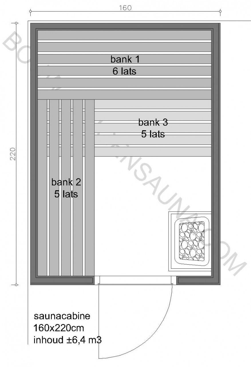 Sauna Zelfbouw-pakket 160x220x210 - in diverse uitvoeringen