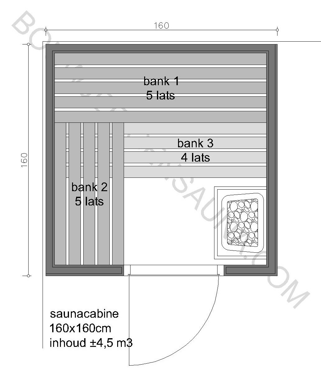 Sauna Zelfbouw-pakket 160x160x210 - in diverse uitvoeringen