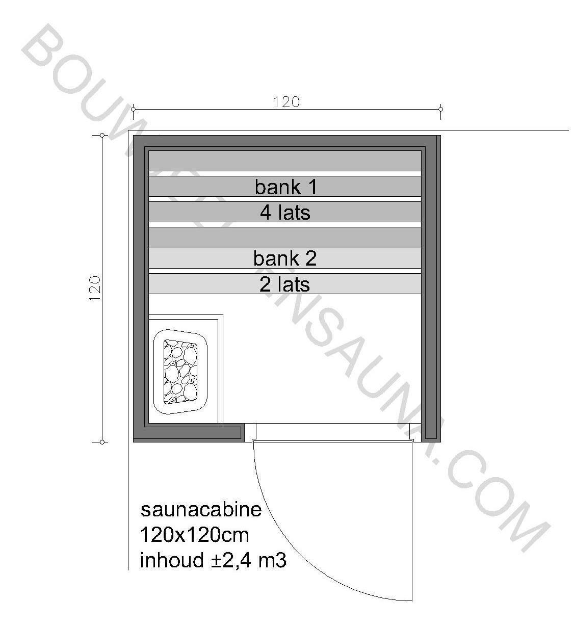 Sauna Zelfbouw-pakket 120x120x210 - in diverse uitvoeringen