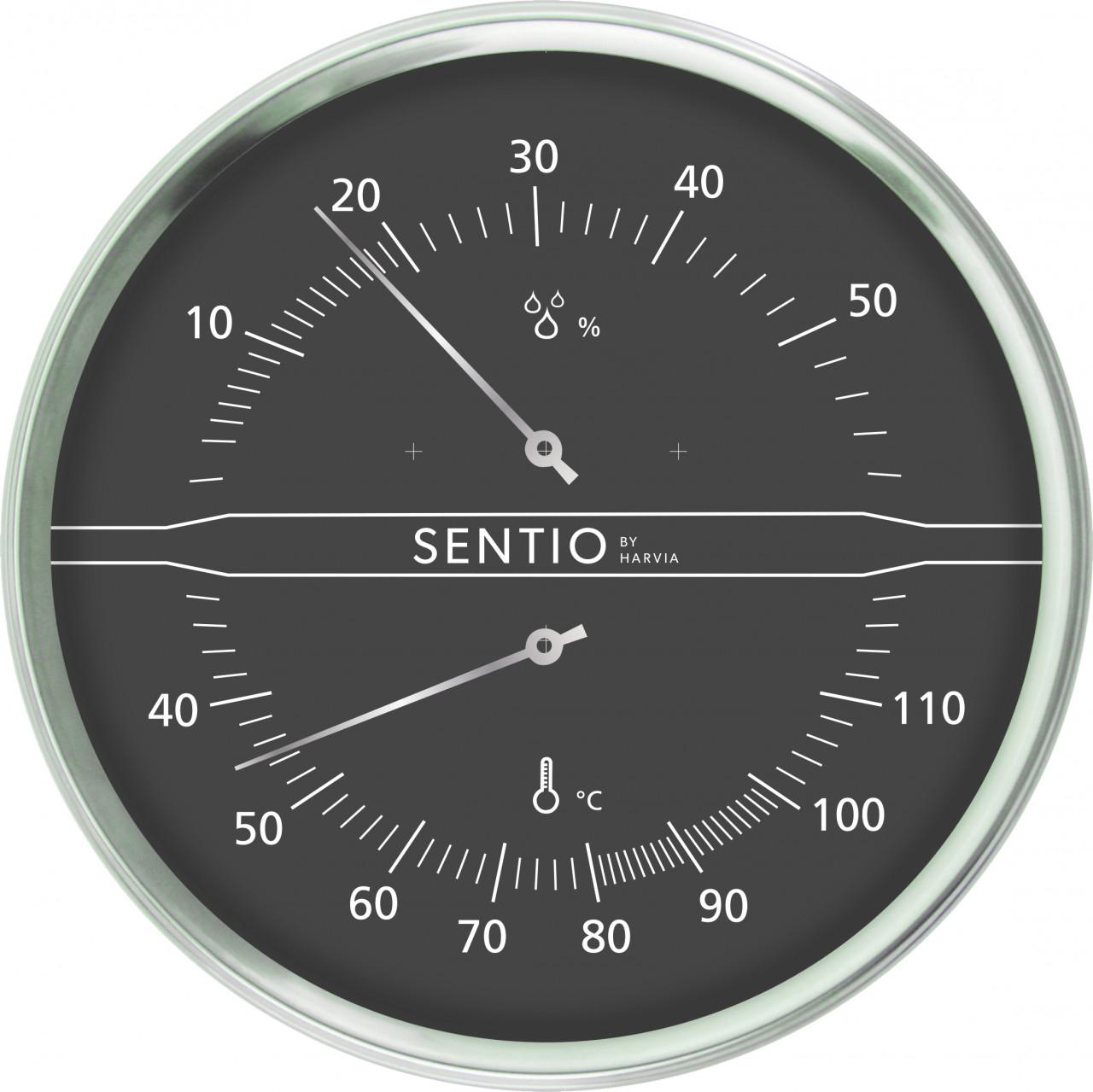 Sentiotec 110° thermo-hygrometer (zwart)