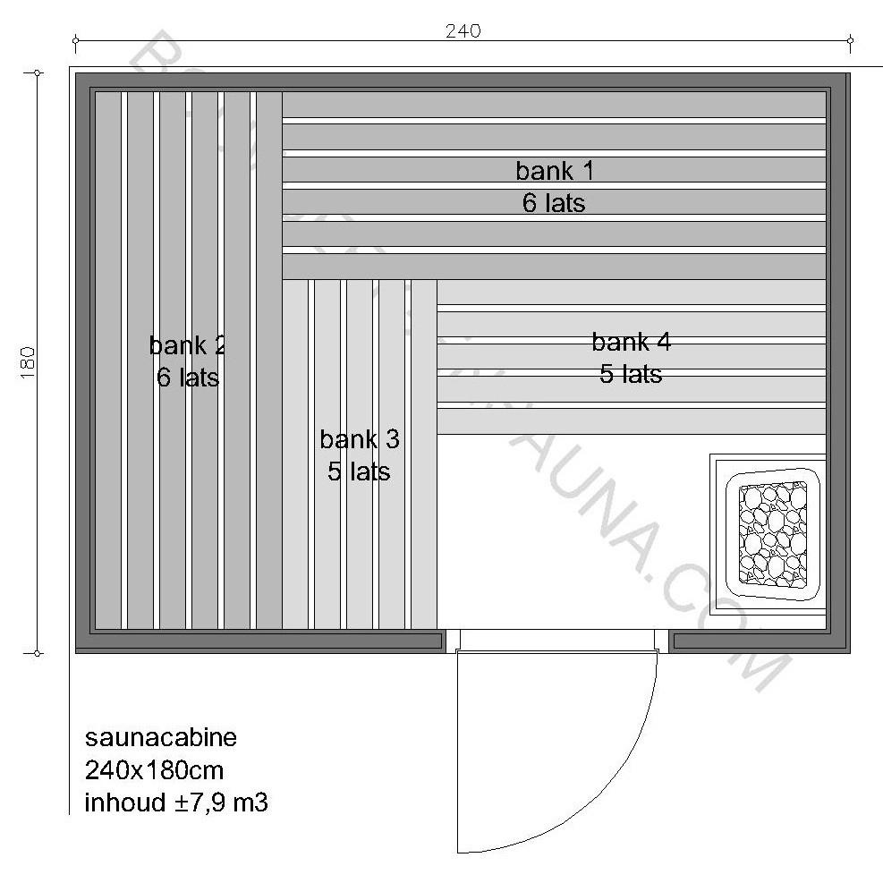 Sauna Zelfbouw-pakket 240x180x210 - in diverse uitvoeringen
