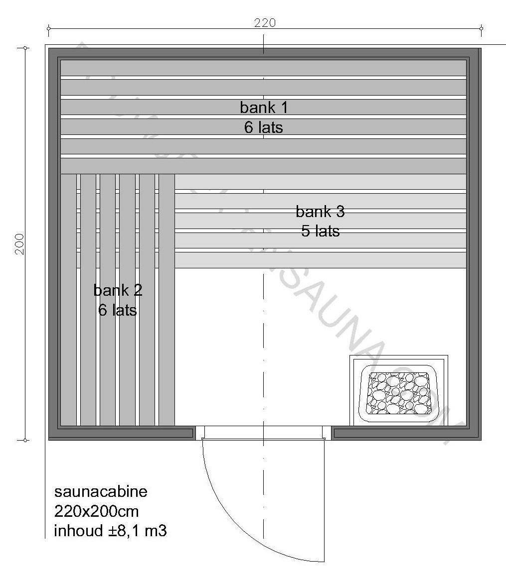 Sauna Zelfbouw-pakket 220x200x210 - in diverse uitvoeringen