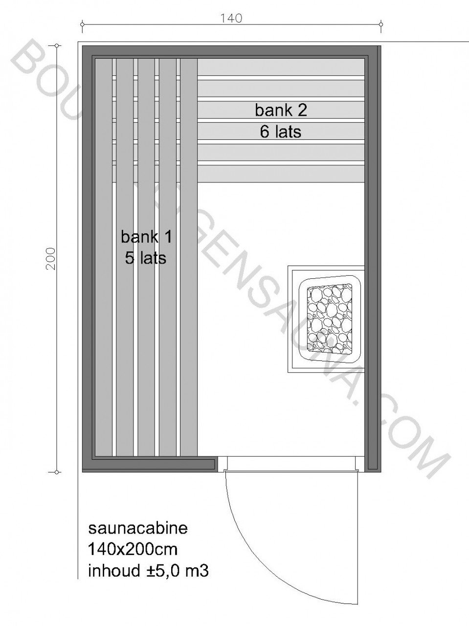 Sauna Prefab-pakket 140x200x210 - in diverse uitvoeringen