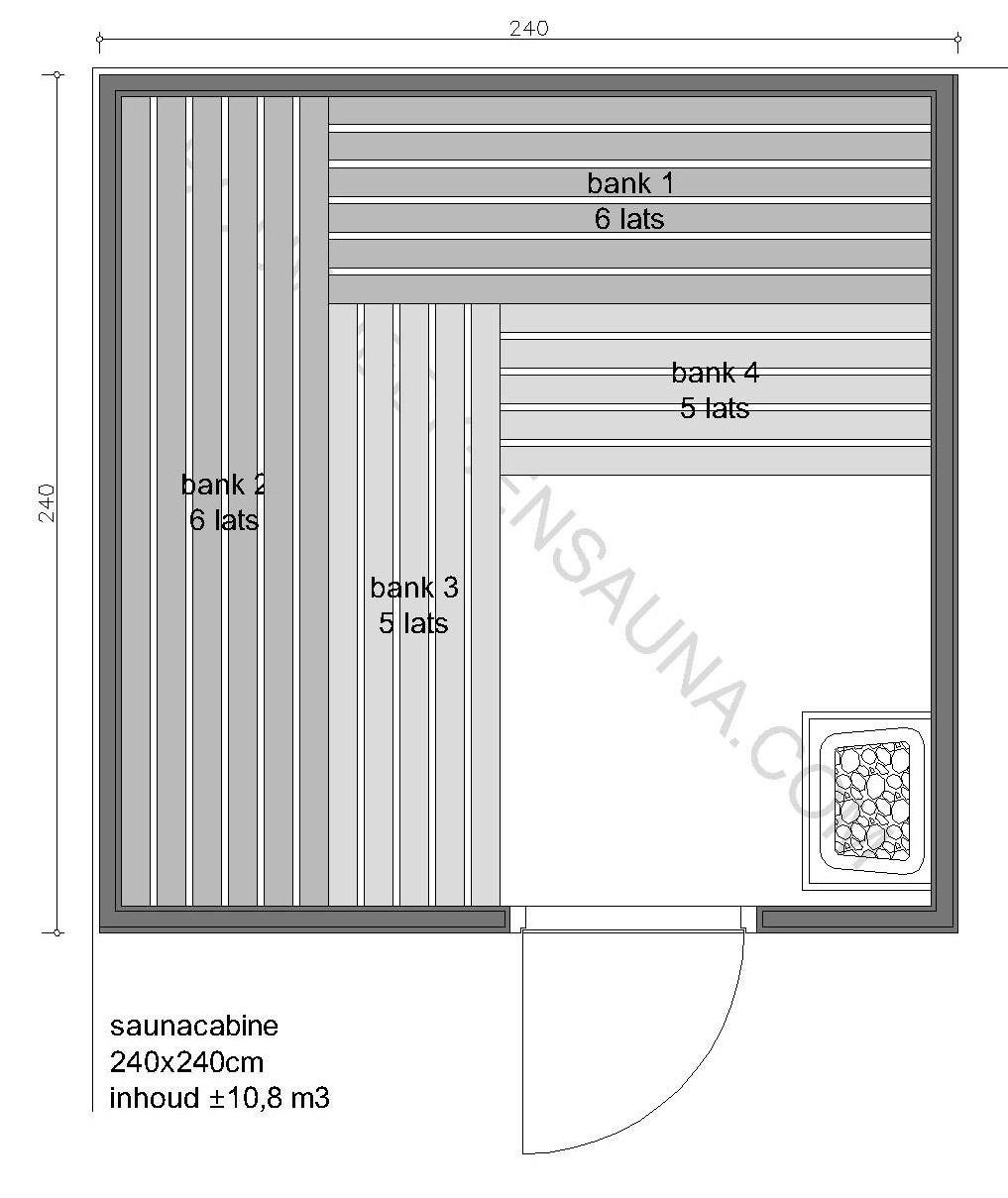 Sauna Prefab-pakket 240x240x210 - in diverse uitvoeringen