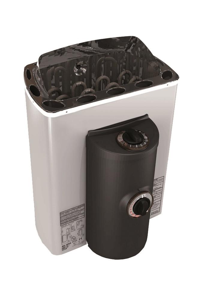 Sawotec Mini-X saunaoven (voor hoekopstelling) met geïntegreerde besturing