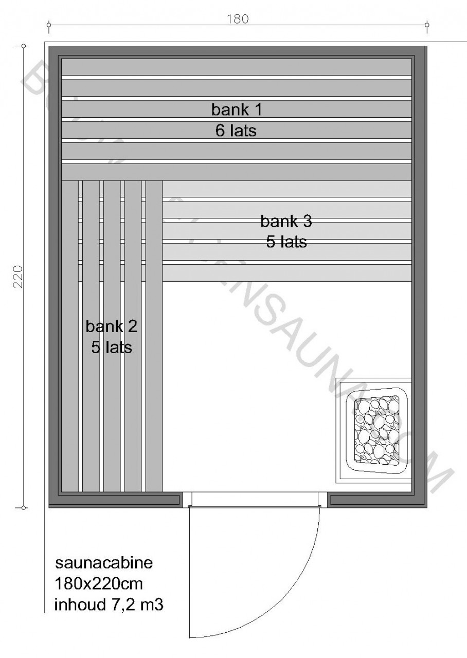 Sauna Prefab-pakket 180x220x210 - in diverse uitvoeringen