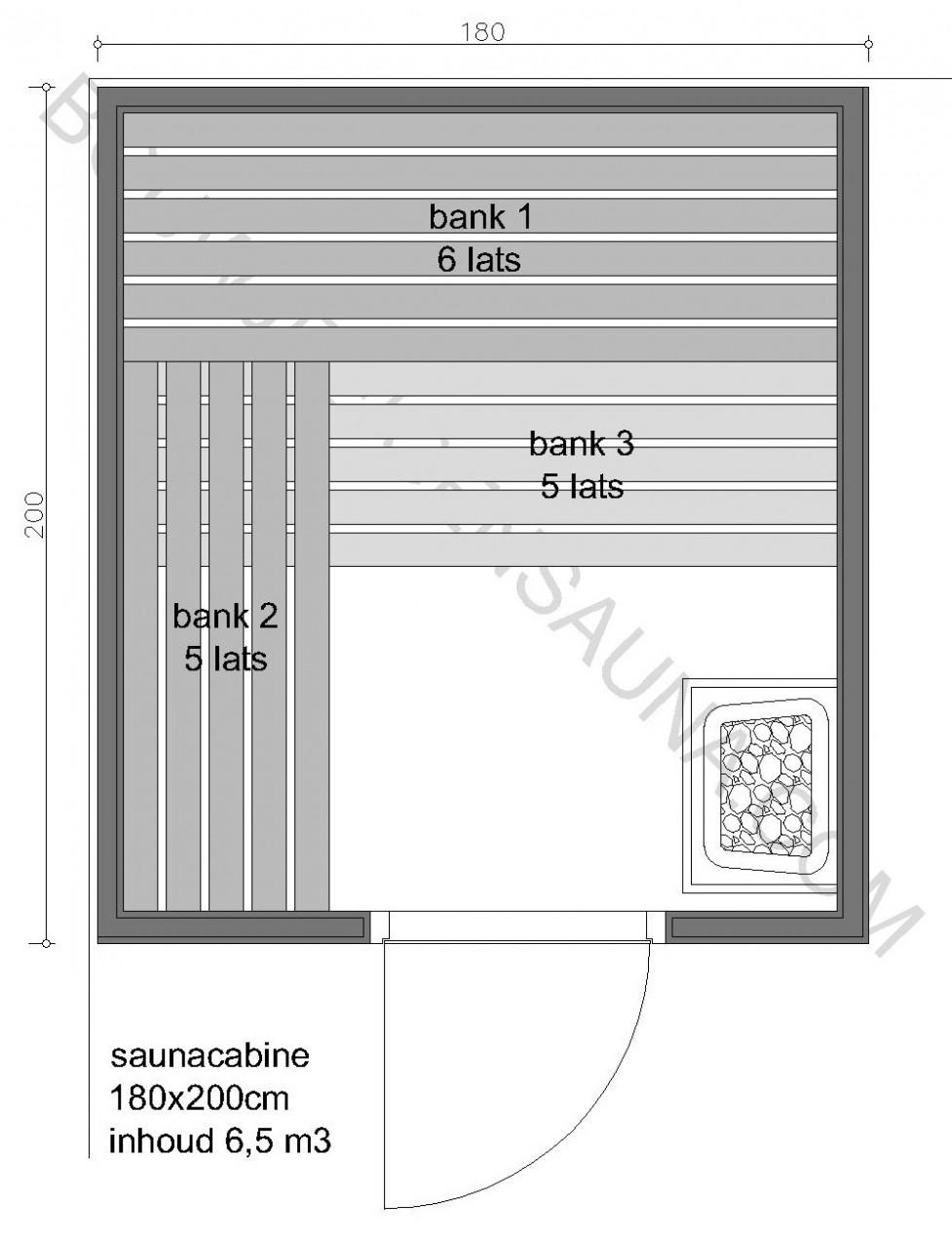 Sauna Zelfbouw-pakket 180x200x210 - in diverse uitvoeringen