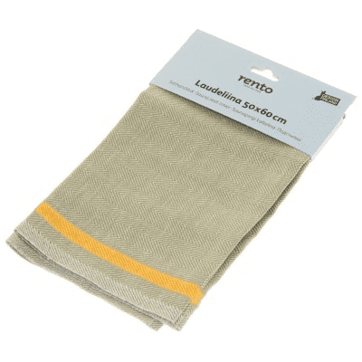 Rento handdoek olijfgroen met oranje streep