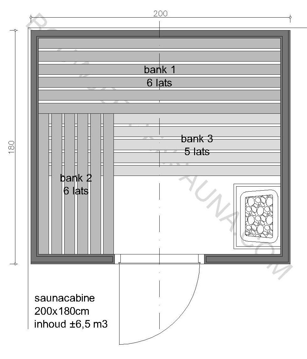 Sauna Zelfbouw-pakket 200x180x210 - in diverse uitvoeringen